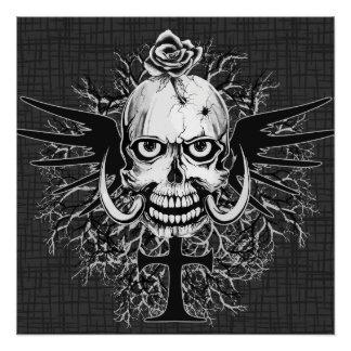 Skull With Rose, Horns, Cross, Wings Illustration Poster