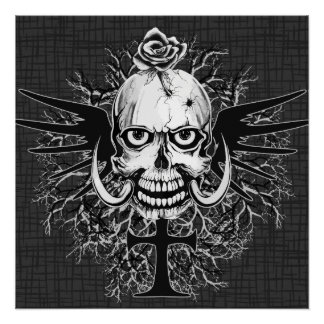 Skull With Rose, Horns, Cross, Wings Illustration Perfect Poster