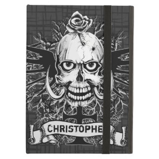 Skull With Rose, Horns, Cross, Wings Personalize iPad Air Cover
