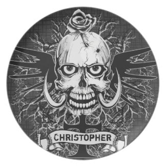Skull With Rose, Horns, Cross, Wings Personalize Plate