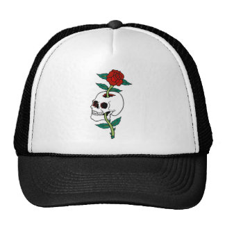 SKULL WITH ROSE TATTOO ART PRINT TRUCKER HAT