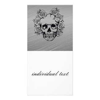 skull with roses photo card