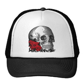 SKULL WITH ROSES VINTAGE PRINT HATS