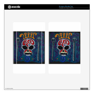 Skull with rown and Swords Decals For Kindle Fire