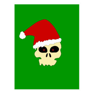 Skull with Santa Hat postcard