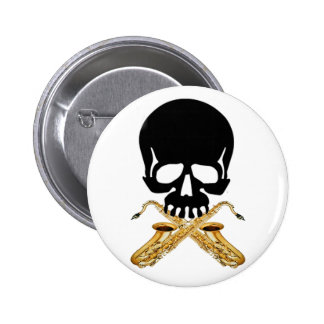 Skull with Saxophone as Crossbones Pinback Buttons