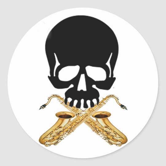 Skull with Saxophone as Crossbones Classic Round Sticker