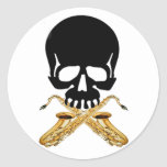 Skull with Saxophone as Crossbones Stickers
