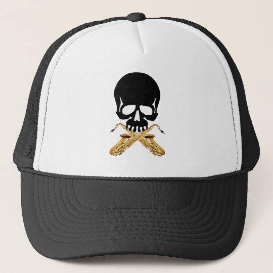 Skull with Saxophone as Crossbones Trucker Hat