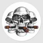 Skull with Shades Classic Round Sticker