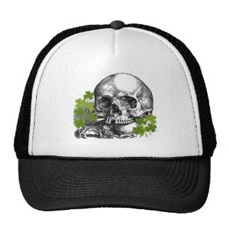 SKULL WITH SHAMROCKS VINTAGE PRINT TRUCKER HATS
