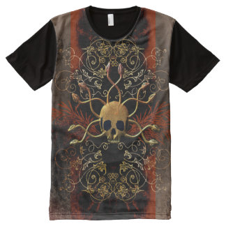 Skull with snakes on red background with damasks All-Over print t-shirt