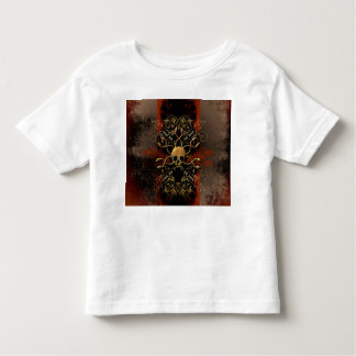 Skull with snakes on red background with damasks tees