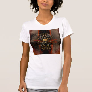 Skull with snakes on red background with damasks t shirts