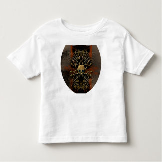 Skull with snakes on red background with damasks tee shirt