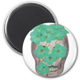 Skull With Soft Greenish Flowers Refrigerator Magnet