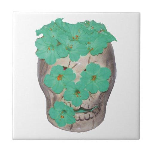 Skull With Soft Greenish Flowers Tile