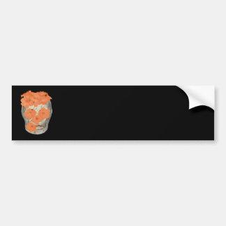 Skull With Soft Tangerine Orange Flowers Bumper Sticker