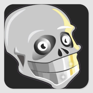 Skull With Sparkling Teeth Square Sticker