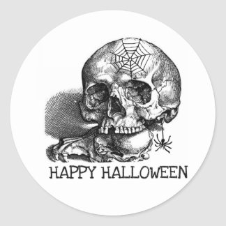 SKULL WITH SPIDER WEB HAPPY HALLOWEEN PRINT CLASSIC ROUND STICKER