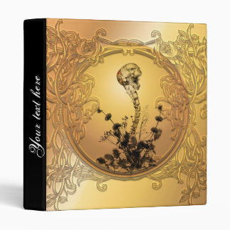 Skull with spinal column and flowers 3 ring binder