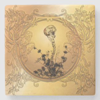 Skull with spinal column and flowers stone coaster