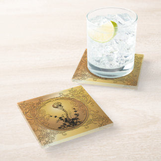Skull with spinal column glass coaster