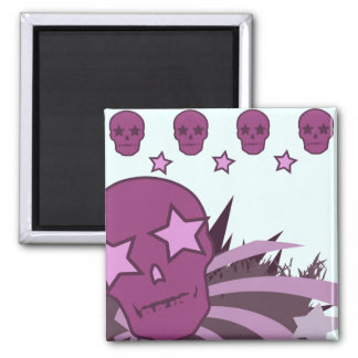 Skull with Star Eyes 2 Inch Square Magnet