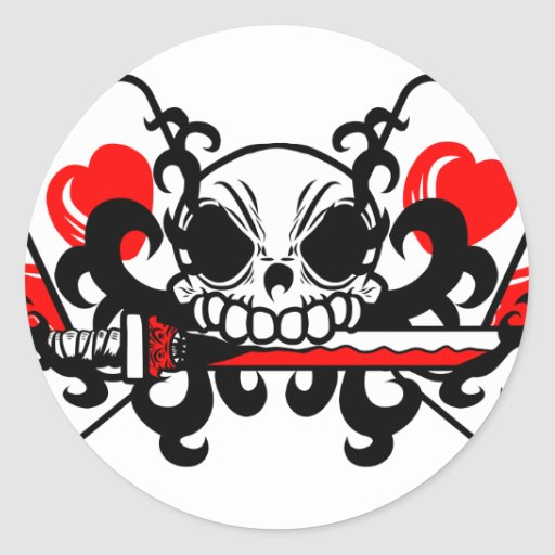 skull with sword and playing cards classic round sticker