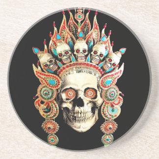 Skull with Tibetan Headdress Drink Coasters