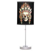 Skull with Tibetan Headdress Desk Lamp