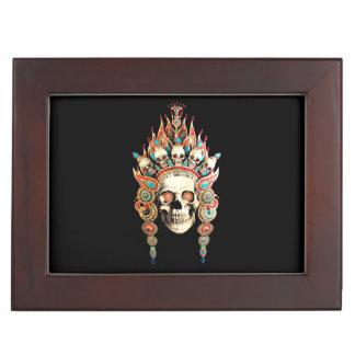 Skull with Tibetan Headdress Keepsake Box