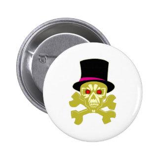 Skull with top calavera cráneo sombrero de cilindr pin redondo de 2 pulgadas
