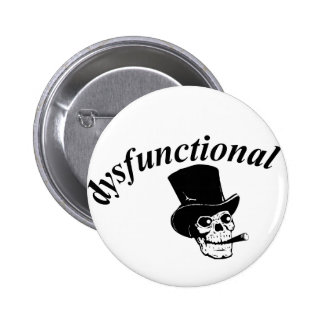 Skull with top hat 2 inch round button