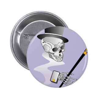 Skull with Top Hat and Cane Pinback Button