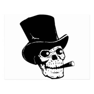 Skull with Top Hat and Cigar Design Postcard