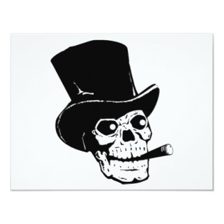 Skull with Top Hat and Cigar 4.25x5.5 Paper Invitation Card