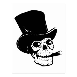 Skull with Top Hat and Cigar Postcard