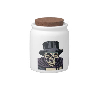 Skull with top hat candy jar