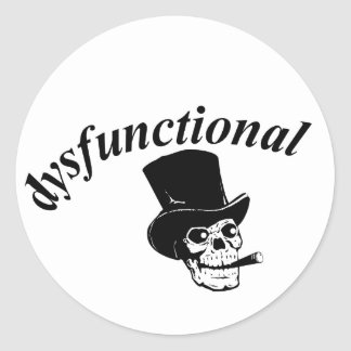 Skull with top hat classic round sticker