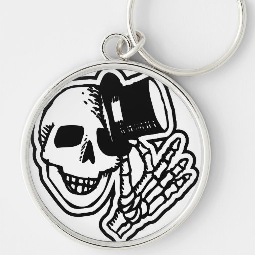 Skull With Top Hat Keychain