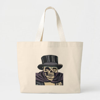 Skull with top hat large tote bag