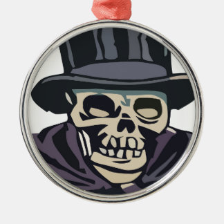 Skull with top hat metal ornament