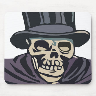 Skull with top hat mouse pad