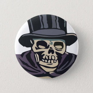 Skull with top hat pinback button