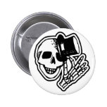 Skull With Top Hat Pinback Buttons