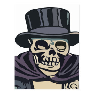 Skull with top hat postcard