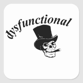 Skull with top hat square sticker