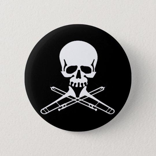Skull with Trombones as Crossbones Button