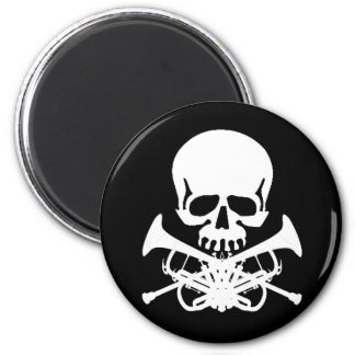 Skull with Trumpets as Crossbones 2 Inch Round Magnet
